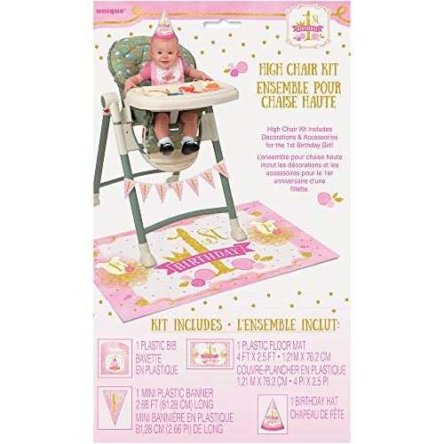 Unique Party Pink and Gold Girls 1st Birthday High Chair Decoration Kit, Set of 4