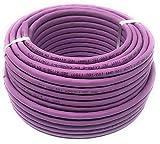Reulin Cable Ethernet de 50 m (Metros) Cat 7A, Libre de halógenos, 1200 MHz/Cobre/Cable de Red súper rápido (PoE)/PoE + (50 m Morado)
