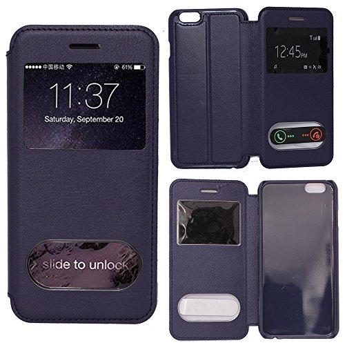 VCOMP® Etui Housse Coque flip cover View compatible pour Apple iPhone 6 Plus/ 6s Plus + stylet - BLEU BLEU FONCE
