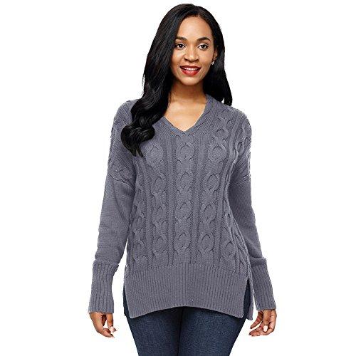 MEI&S Col en V femmes Regroupement cavaliers occasionnels Haut Pull Sweater sweat-shirts Grey