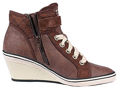 ESPRIT Damen Sneaker LEXA WEDGE mit Keilabsatz braun oder schwarz Gr. 36 - 41 (40, Braun)