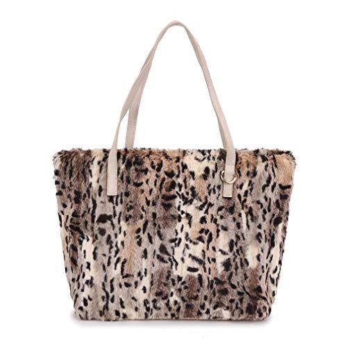 Laoling borsa a tracolla da donna in pelliccia sintetica leopardata borsa a mano grande borsa a mano da donna borse e borsette da donna fur bag