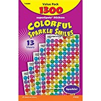 Stickers, Colorful Sparkle Smiles, 1300 Stickers, Multi