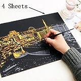 BIEE,Scratch Art Kratzbilder Scratch Paper Scratch Boards Schwarz Beschichtet Kunst Doodle Pad Malerei Papier,Kratzpapier Note,Bunte DIY Scratch Art Papier für Kinder zum Basteln