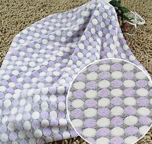 CFHJN Home Katzen Hunde Decken Super weiche dünne Decken für Babybetten/Katzen Hunde Betten (L: 80 * 100 cm, Dots-Purple) Pet Bettdecke