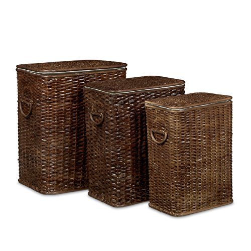 relaxdays w schekorb 3er set geflochten rattan eckig hbt 54 5 x 45 5 x 33 5 cm stapelbare. Black Bedroom Furniture Sets. Home Design Ideas