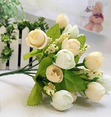 ZEZKT-Home Blumen-Köpfe Kunstblumen Blüten Flowers Künstliche Blumen Hausdeko Schön Künstlich Blumen Pfingstrosen Künstliche Blumenstrauß Für Hochzeit Party Fest Haus Büro Bar Dekor (Weiß, 23cm Length)