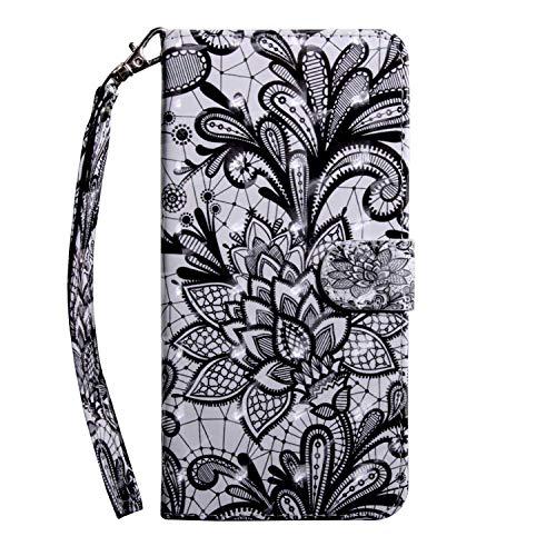 Galaxy M10 Hülle, Bear Village® PU Leder Wallet Case Anti-Scratch Brieftasche Schutzhülle mit Kostenlos Schutzfilm aus Gehärtetem Glas für Samsung Galaxy M10 (#3 Schnüren)
