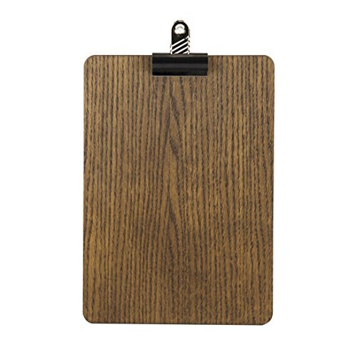 Chalkboards UK A4 Wooden Board with Detachable Clip, Wood, Black, 240 x 325 mm