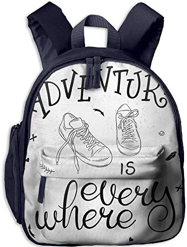 Kid's Boy's&Girl's School Backpack   Pocket Adventure Motivational Design   Theme   Pair of Sneakers Walking Hiking Wanderlust Decorative Black White B07MPLLZT5 | Magasiner