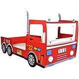 Cama infantil roja en forma de camión de bomberos 200 x 90 cm