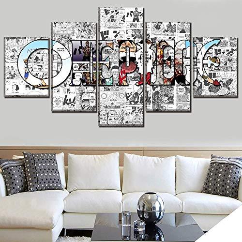 Dzrmb Obra Moderna Impresión en Lienzo Pintura 5 Piezas Anime Poster Logo...