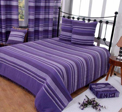 Homescapes Jeté de lit/Jeté de canapé Violet à Rayures de 230 x 255 cm en pur Coton appartenant à la collection Stripes