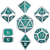 SIQUK Metal Polyhedral 7-Die Juego de Dados, Plata Brillante con Esmalte Verde Dados de aleación de Zinc Pintados en Caja metálica, Juego de rol Juego de Dados