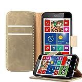 Cadorabo Hülle für Nokia Lumia 630 - Hülle in Cappucino BRAUN – Handyhülle im Luxury Design mit Kartenfach und Standfunktion - Case Cover Schutzhülle Etui Tasche Book