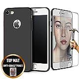 [Pack 2] Coque iPhone 6S / 6 (4,7') Silicone TPU Housse Mat Noir + Film Protection D'Ecran Verre Trempé