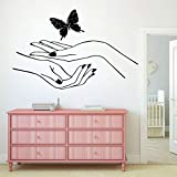 WSLIUXU Nail Butterfly Wall Decal Living Room Mural extraíble...