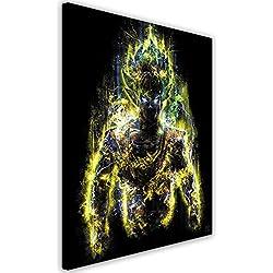 Feeby. Cuadro en lienzo - 1 Parte - 40x50 cm, Imagen impresión Pintura decoración Cuadros de una pieza, Goku - Barrett Biggers, DRAGON BULL Z, ANIME, AMARILLO