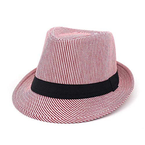 YUXINXIN Jugend-Mode-Wilder Jazz-Hut-Visier-Fedora-Hut-Manneshut-Frauen-Paar-gestreifter Mode-Hippie (Farbe : Rosa, Größe : 56-58CM)