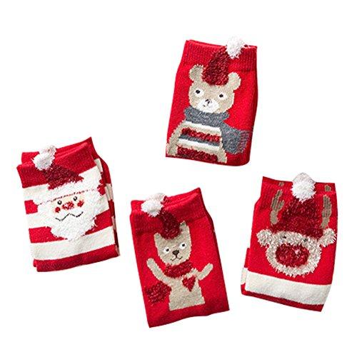 4 paia di bambini ragazzi ragazze calzini - kootk accoglienti calze del fumetto di natale cotone del calzini della banda calzettoni di cotone orsi a righe/l/18-20cm/5-8y