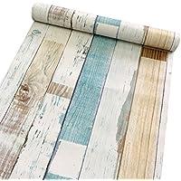 Decorativo Panel de madera patrón Contacto Papel autoadhesivo papel pintado Estante Liner Peel and Stick para cubrir armario de cocina encimera estantes manualidades 45 x 200 cm