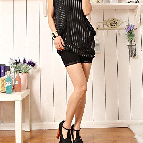 Liang Rou Damen Elasthan kurz Leggings 2-Pack 2-Pack: Spitzenbesatz Schwarz/Weiß