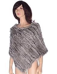 Ystng Real conejo genuino de la piel de las mujeres del suéter del Knit del chaleco del cabo del abrigo del poncho