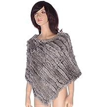 Ysting Coniglio reale genuino delle donne pelliccia Maglia Gilet Cape Wrap Poncho