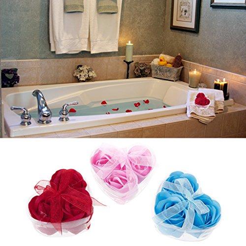 Hacloser 3/Set Floral Badeduft Seife Rose Blütenblätter + Herz Form Box für Hochzeit Geschenk Geschenk Valentinstag, zufällige Farbe (Set Bath Rose Scented)