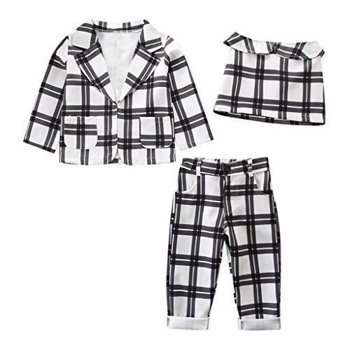 Baby Gap 3 Stück (JUTOO Kinder Baby Mädchen Outfit Kleidung Plaid Coat + Tops + Hosen Hochzeitsanzug 3 Stücke Set (Weiß,120))