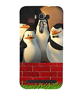 For Asus Zenfone 2 Laser ZE500KL (5 Inches) penguin, four penguin, red brick wall Designer Printed High Quality Smooth Matte Protective Mobile Case Back Pouch Cover by APEX ELEGANT