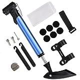 Diyife Bike Pumpe, [Kostengünstige Version] Mini Fahrrad Pumpe mit Rahmen-Halterung für Road, Mountain & BMX Passend für Presta-& Schrader Ventil Blau