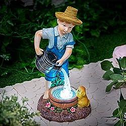 GloBrite Statue d'extérieur à énergie solaire en polyrésine imperméable pour décoration de jardin