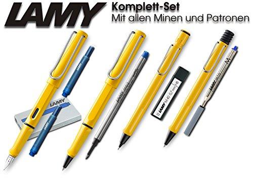 LAMY Safari Set [Füller + Kugelschreiber + Tintenroller + Bleistift] (inkl. Ersatzminen + Patronen,...