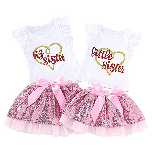 Puseky Baby Mädchen Little Big Sister Passende Outfits Rüschenhemd Tops Pailletten Tutu Rock Kleid Set (Color : White+Pink, Size : Little Sister-0-3M) - Big 0
