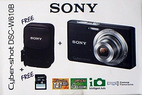 Sony Cyber-Shot dsc-w610b Kamera-Kit schwarz inkl. Kamera 4GB SD Karte und Sony Kamera Fall–UK und EU Netzteil