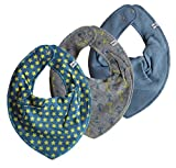 Pippi Halstuch 3er Set Baby Halstücher Dreieckstücher verschiedene Farben (Sterne & Anker)