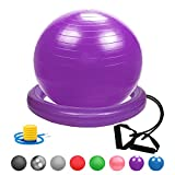 Glamexx24 Weich Gymnastikball Dick Anti-Burst Sitzball Peziball Swissball Fitnessball Ballpumpe, Ballschale, Widerstandsbändern, Mini Pilates Ball Yogaball