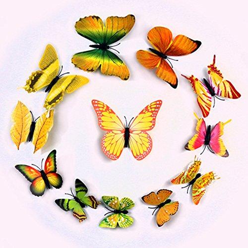 QTT Schmetterling wand Dekoration 3D Stereo und Kühlschrank Schlafzimmer butterfly wall Single Layer Emulation, 12,10,8,6 cm, b (Dekoration Schergen)