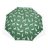 Trushop Ombrello automatico Funny Puppy Dog Pads Green lightweight Anti-UV Sun Rain Compact Travel Umbrella