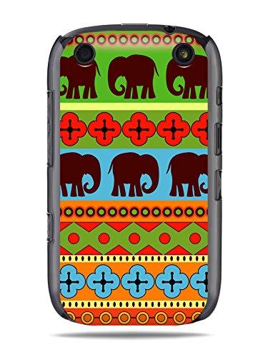 """GRÜV Premium Case - Design """"Afrikanische Elefanten, Tribalkunst"""" - Qualitativ Hochwertiger Druck Schwarze Hülle - für Blackberry Curve 9320 9310 9315 9220"""