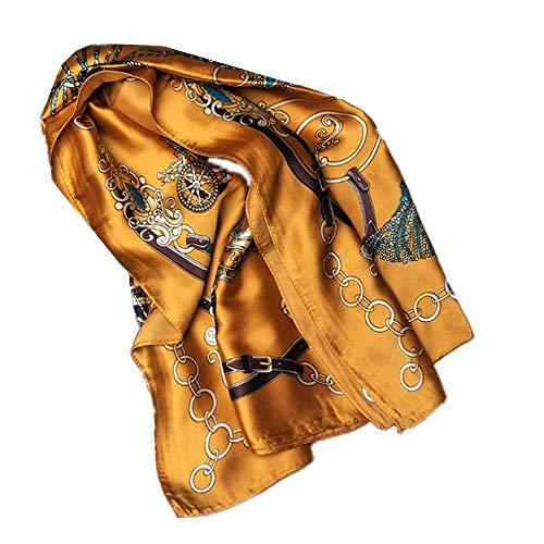 SHALU Nueva bufanda de satén de seda estampado femenino verano protector solar bufanda bufanda chal...
