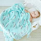 #9: Rachna's Double Gauze Happy Whale Muslin Square Bamboo Cotton Swaddle Wrapper Baby Blanket - 18403 - Firozi - 120CMS x 120CMS