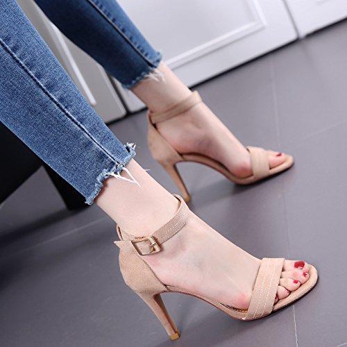Scarpe Sandali con tacco donne di estate Toes Pulsanti cinghie dei sandali di modo temperamento di eleganza di marea Beige