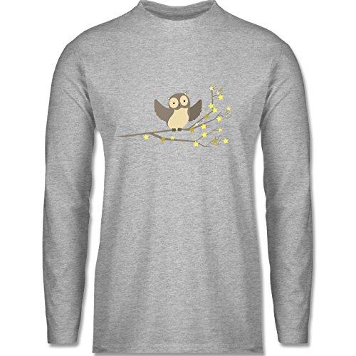 Vögel - kleine Eule - Longsleeve / langärmeliges T-Shirt für Herren Grau Meliert