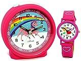 Atlanta Kinderwecker ohne Ticken für Mädchen Pink mit Armbanduhr - 1981-17 KAU