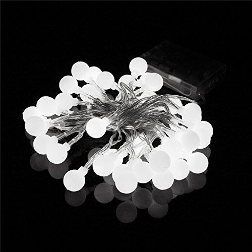 Happyit 3.5m 30pcs Lichterkette führte Ball Schnur Lichter für neue Jahr Weihnachts Dekorationen Hochzeits Party Zuhause Garten Dekoration Lichter (Weiß)