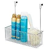 mDesign Scaffale portaoggetti per accessori bagno - Pratico organizer bagno in metallo per shampoo, balsamo e simili - Portaoggetti da appendere senza montaggio - argento
