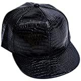 Belsen Damen Winter Vintage Serpentin Baseball Cap Leder Trucker Hat (schwarz)