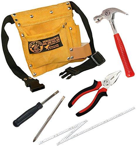 Corvus Kinder-Werkzeug-Set mit Werkzeug-Gürtel, Zimmermanns-Hammer, Schraubenzieher, Kombizange und Zollstock